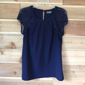 Maude blouse dark blue lace 0755-🌼